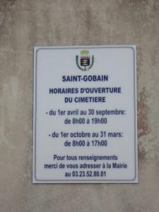 Ville Saint-Gobain cimetiere horaire